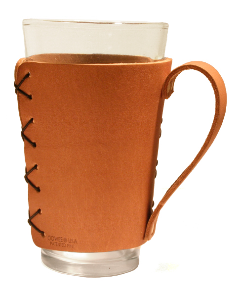 Leather Pint Holder Sleeve with Handle